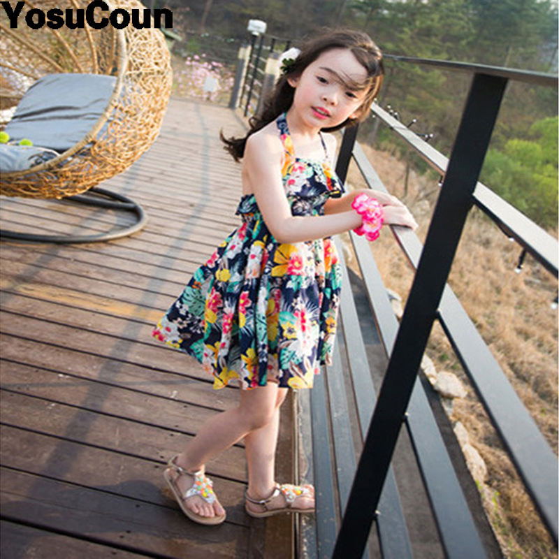 2-16Years Girl Dress Bohemian Summer Broken Backless Dresses Beach Style Children Clothes Floral Baby Clothing For Girls Costume fashion kids baby girl dress clothes grey sweater top with dresses costume cotton children clothing girls set 2 pcs 2 7 years