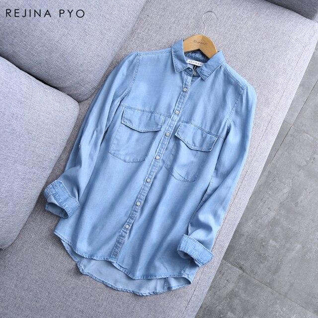 REJINAPYO 2019 Весна новое поступление для женщин синий хлопок джинсовая рубашка Женский Основные Твердые Карманы пуговицы блузка