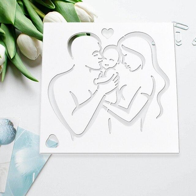 Nuovo Padre E la Madre Del Bambino Modello Happy Family Torta Stencil Per La Dec