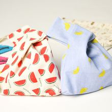 Handbags Lunch-Bag Tote Wrist-Bags Japanese-Style Portable Cotton Fashion Stripe Square