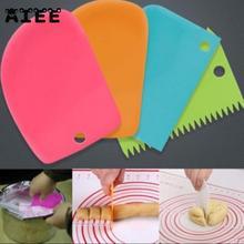 AIEE 3 шт./компл. Пластик миксер для теста Ножи глазурь скребок для мастики неровные края однотонные гладкие торт весло шпатели для торта Формы для выпечки Инструменты