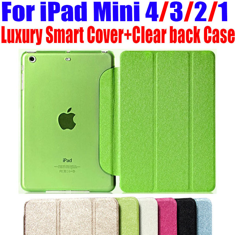 Newest Luxury Stand leather Case For ipad mini 4/3/2/1 Smart Cover Translucent Clear back Case For iPad Mini 4 3 2 1 NO: IM301 nice clear flexible tpu silicone bottom back case for apple ipad mini 1 2 3 case smart cover partner thin transperent
