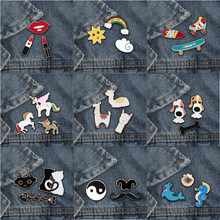 3Pc/set Fashion Cute Animal brooch pins Alpaca Cat Horse Rainbow Women Brooches Matel Lapel Shirt Badge Jewelry Special Gifts(China)