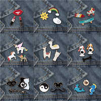 3Pc/set Fashion Cute Animal brooch pins Alpaca Cat Horse Rainbow Women Brooches Matel Lapel Shirt Badge Jewelry Special Gifts