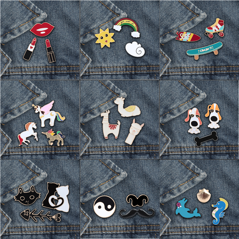 3Pc/set Fashion Cute Animal brooch pins Alpaca <font><b>Cat</b></font> Horse Rainbow Women Brooches Matel Lapel <font><b>Shirt</b></font> Badge Jewelry Special Gifts image