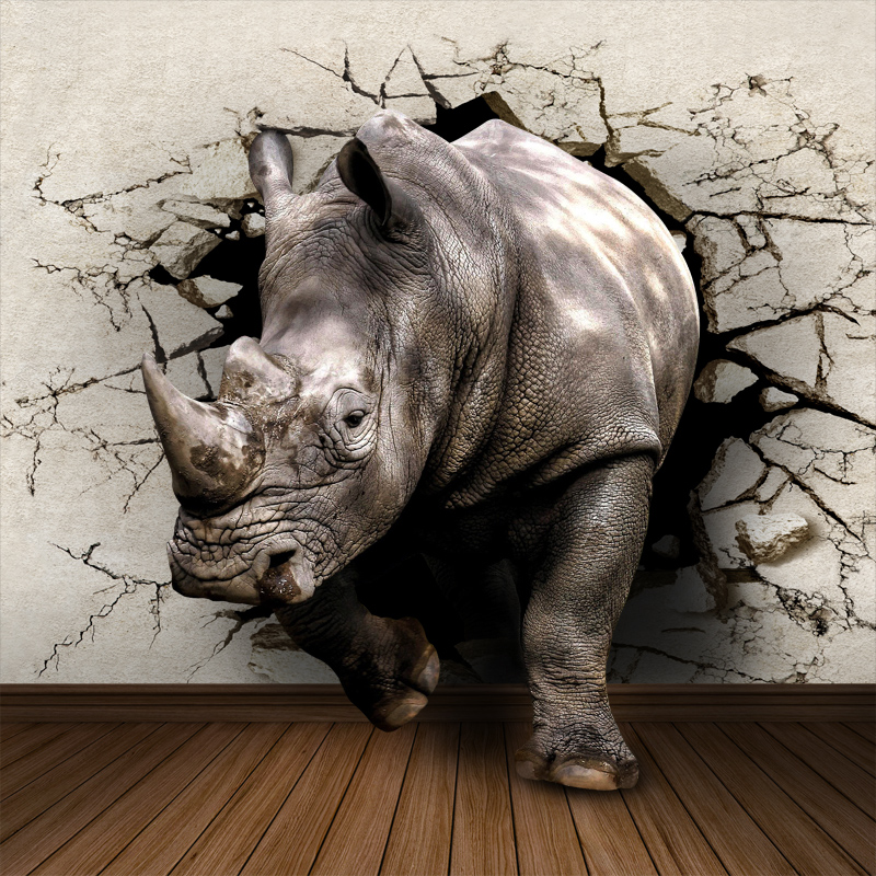 Custom Rhinoceros Animal 5D Papel Mural 3d Wall Photo Mural Wallpaper for Bedroom Living Room 3d Wall Mural Wall paper 3d Murals custom photo wallpaper 3d wall murals balloon shell seagull wallpapers landscape murals wall paper for living room 3d wall mural