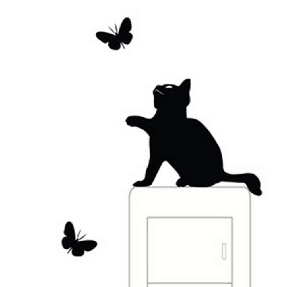 Cute Cat Wall Stickers Light Switch Decor Decals Art Mural Baby Nursery Room Butterfly Sticker PVC Wallpaper