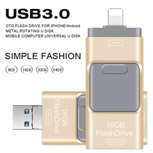 USB Flash Drive 64GB Pendrive High Speed Pen Drive for Iphone 5/5s/5c/6/6 Plus/7/ipad/ Android USB Stick Flash Drive OTG USB 3.0