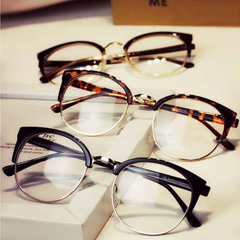 Ronda moda medio marco gafas con montura de metal hombres retro gran ...