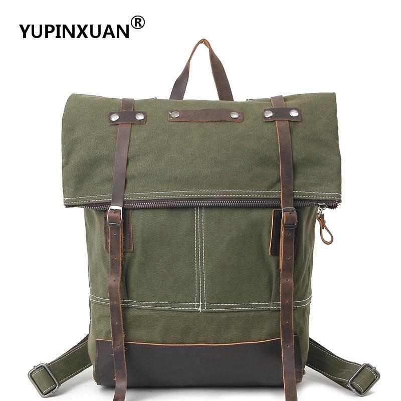 YUPINXUAN British Fashion Waterproof Canvas Backpacks Unisex Preppy Style Travel Daypacks Teenagers Vintage School Bags Oil Wax цена 2017