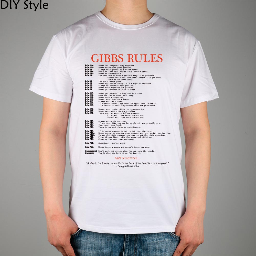 CAQ GIBBS RULES NCIS short sleeve   T  -  shirt   Top Lycra Cotton Men   T     shirt   New