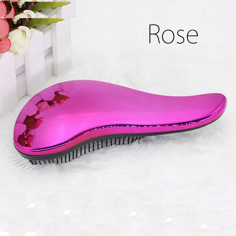 Brainbow 1pc Magic Anti-static Hair Brush Handle Tangle Detangling Comb Shower Electroplate Massage Comb Salon Hair Styling Tool