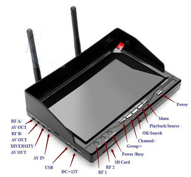 TS832 600 mW transmisor inalámbrico sistema PAL Servo 2 ejes cardán Cámara una máquina 7 800*480 RC732 DVR pantalla LCD TFT - 4