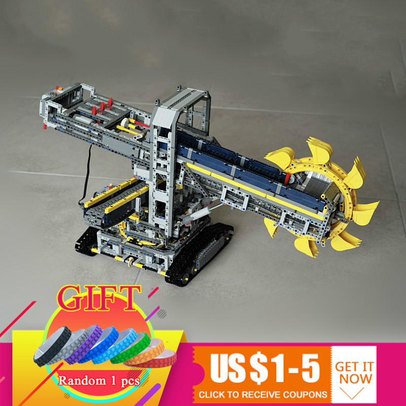 20015 3929pcs Bucket wheel excavator set Technical series Compatible with 42055 Model Building blocks children DIY Toys gift 196pcs building blocks urban engineering team excavator modeling design