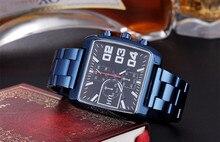 Masculino Relogios Homens Esfriar Relógios Quadrados Originais Europa Street Fashion Azul Liga Pulseira relógio de Pulso de Quartzo Relojes NW7172