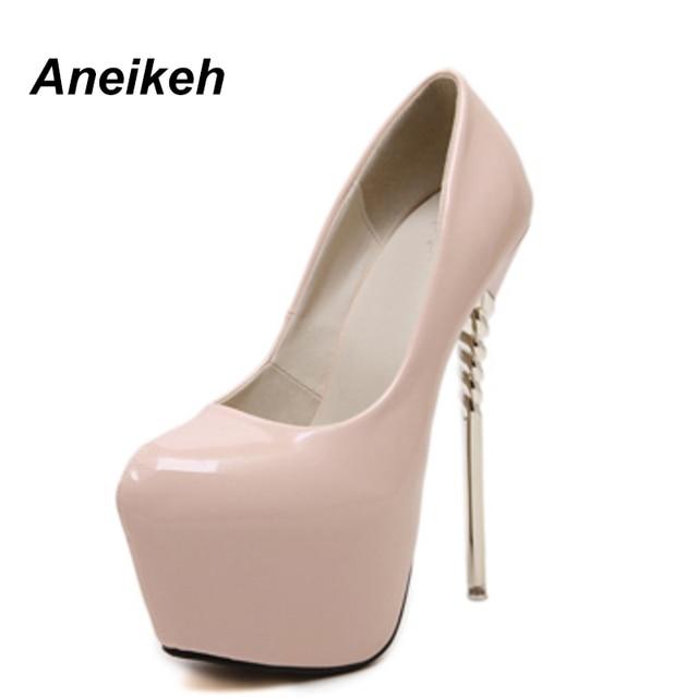 Aneikeh nuevo Sexy mujeres bombas 16 cm punta redonda tacones altos mujeres  zapatos Stilettos fiesta charol 014b4e68d7a9