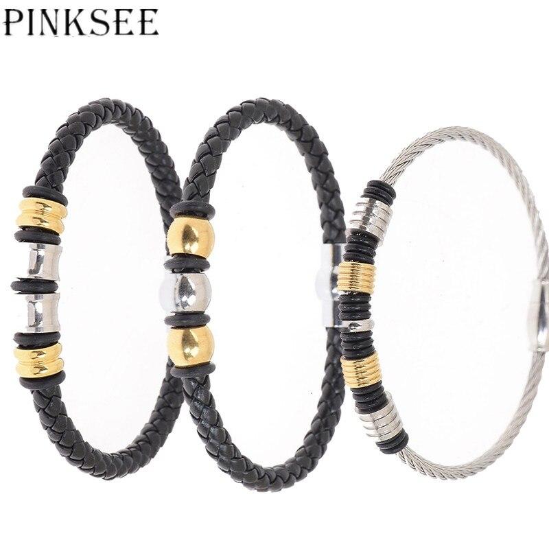 93b48e55f87c PINKSEE gótico Punk perlas de acero inoxidable brazalete pulseras para  Mujeres Hombres de cuero de la PU envuelto pulsera accesorios de la joyería