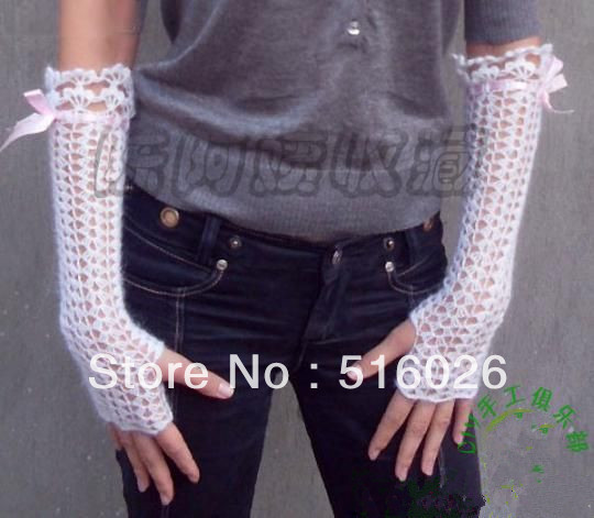 Weddind white Crochet Lace Gloves, Fingerless, Hand jewelry, Classic, elbow , Dance 6 pair/lot