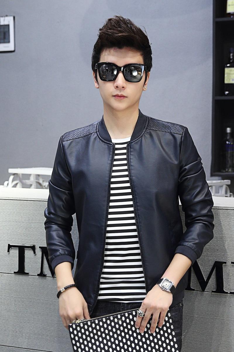 Leather jacket boy - 2017 Spring Men Jacket Boy Coat Fashion Cool Pu Dark Blue Black Brown Color Slim Male