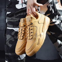 2019 Ins Soft Leather Men Chunky Sneakers Lace-up Casual