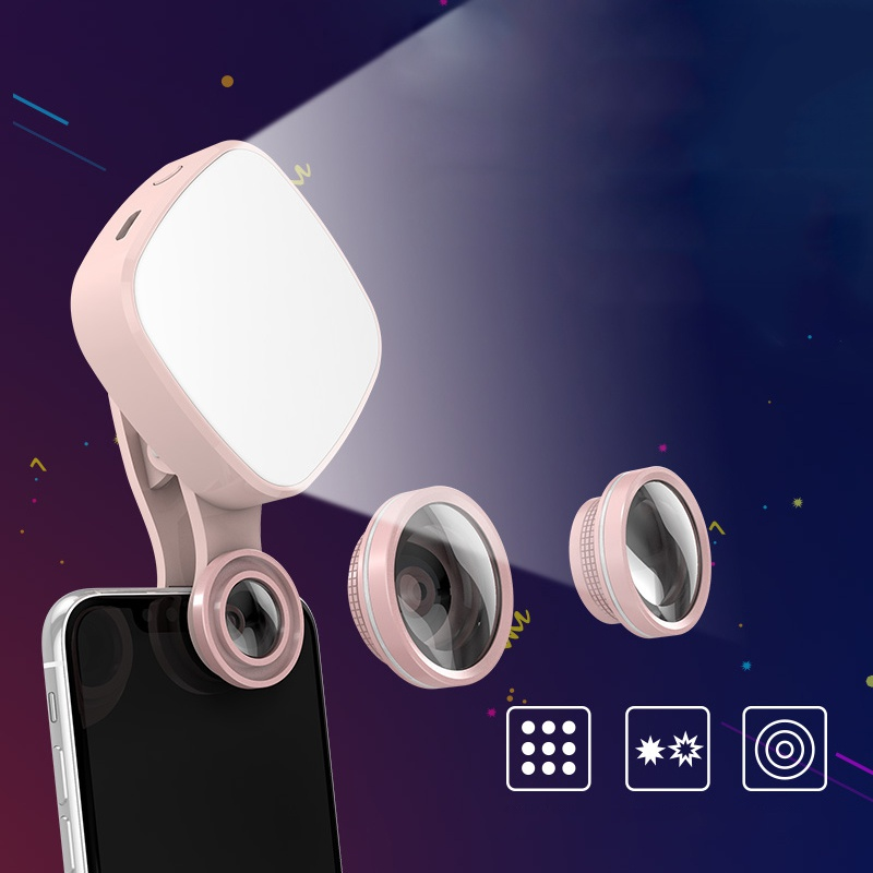 4K HD Mobile Phone Lens Fill Light 150 wide angle 180 fisheye 50X macro Clip-on Cell Phone Camera Lens for iPhone x 8 Samsung S8