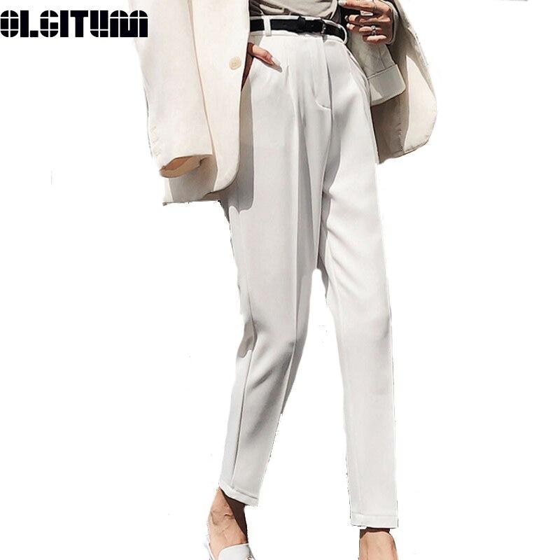 New 2020 White Ladies Trousers Casual No Belt Pencil Pants High Waist Elegant OL Style Work Pants Women Casual Pants PT206
