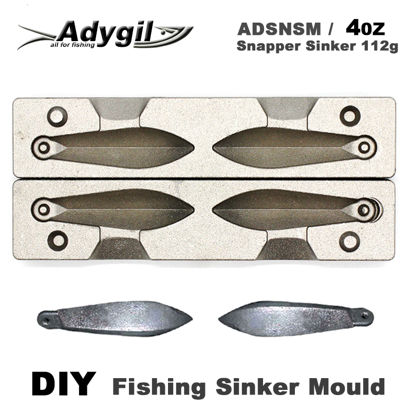 Adygil DIY Fishing Snapper Sinker Mould ADSNSM/4oz Snapper Sinker 112g 2 Cavities