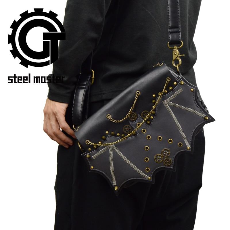 Punk Gothic Men Women Messenger Shoulder Bag 2018 Vintage Fashion Steampunk Rivets Cross Body Bag Black PU Leather Envelope Bags