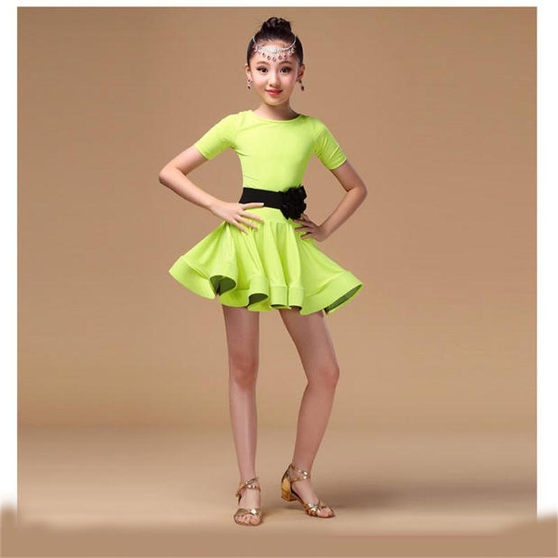 New children's Latin dance dress performance dress Latin dance dress short sleeve skirt