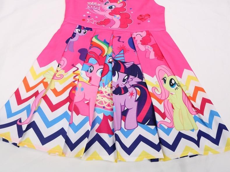 Summer Princess Little Pony Rainbow Dresses For Girls Halloween Birthday Party My Baby Unicorn Vestidos Dress Clothing 3