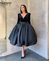 New Arrival Long Sleeve V neck Puffy Ball Gown Formal Women Elegant Arabic Style Black Velvet Short Evening Dress 2019