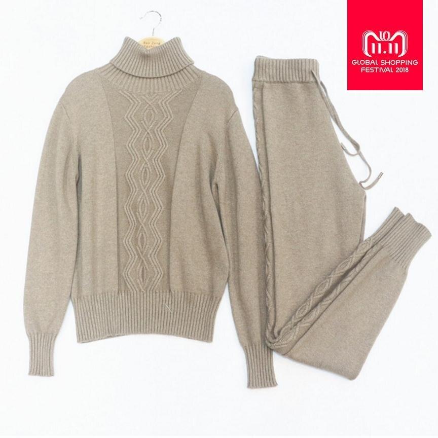 Inverno di Lana e Cashmere Modello di Maglia del Vestito caldo Collo alto Del Maglione + Visone Cashmere Pantaloni Per Il Tempo Libero A due pezzi wj1273