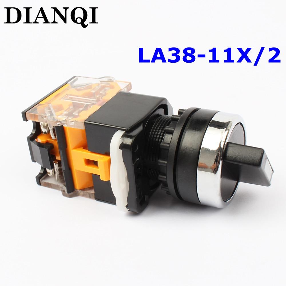 la38 11x2 la38-11/x2  LA38-11X2 High quality  rotary push button switch 2 position la38 20xb 3 position selection push button switch long handle latching switch ac220v dc24v