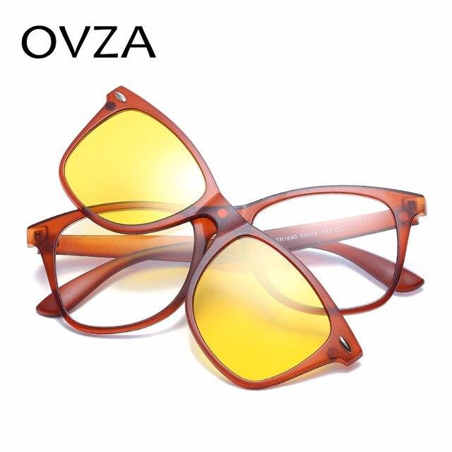 44fbf93d2d6 Ovza Polarized Driving Sunglasses Women Night Vision Goggles Men TR90 Ultra-light  Sunglasses Fashion Removable Lens S2025