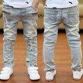 2016 primavera nova roupa das crianças branco calças de brim infantis macios novidade Mid soltos meninos calças para a idade de 3 a 12 anos de idade B131