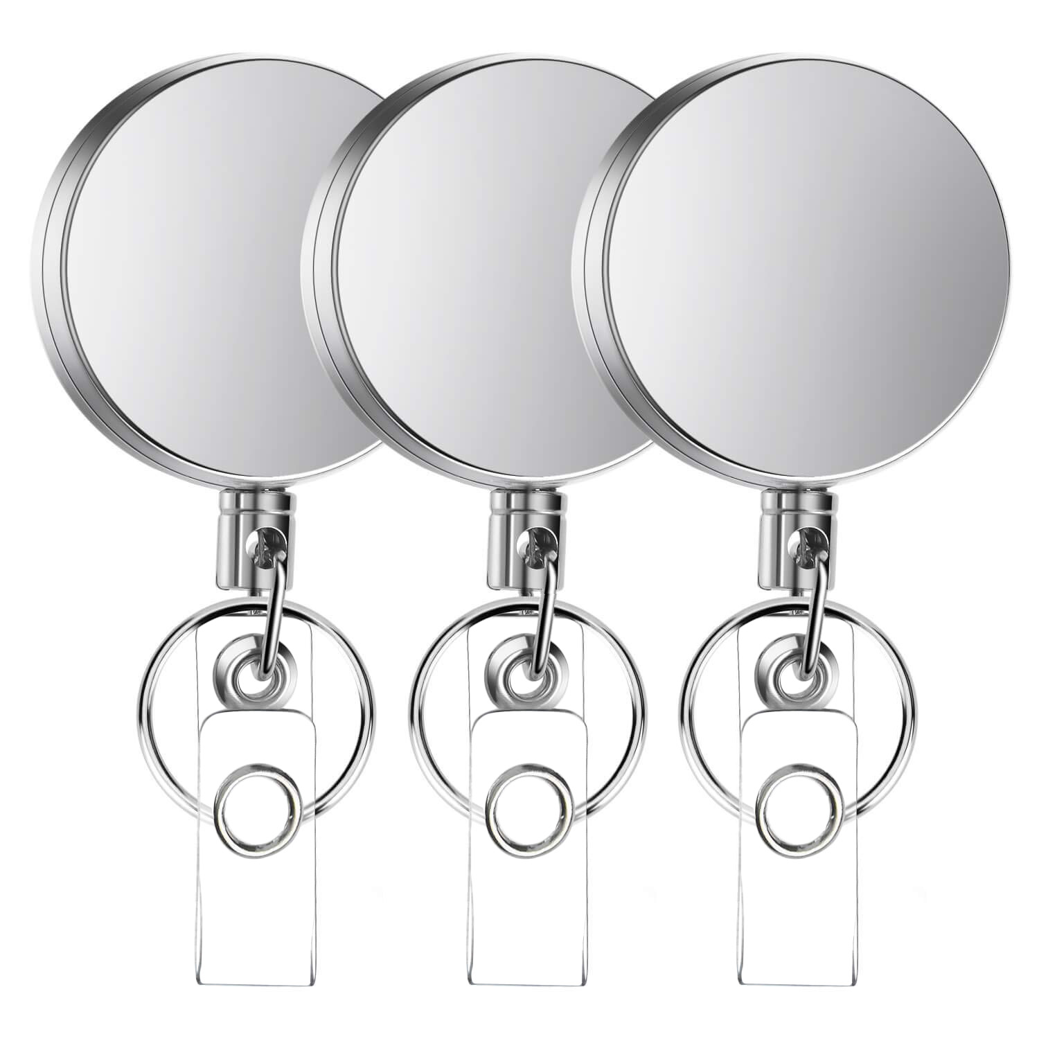 3 Pcs Metal Retractable Badge Holder Heavy Duty Badge Reels ID Holder With Key Chain Reinforced ID Strap Belt Clip