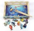 Criativo inteligência educacional jogo de pesca magnética puzzle brinquedos de madeira de madeira peixe toy presente das crianças
