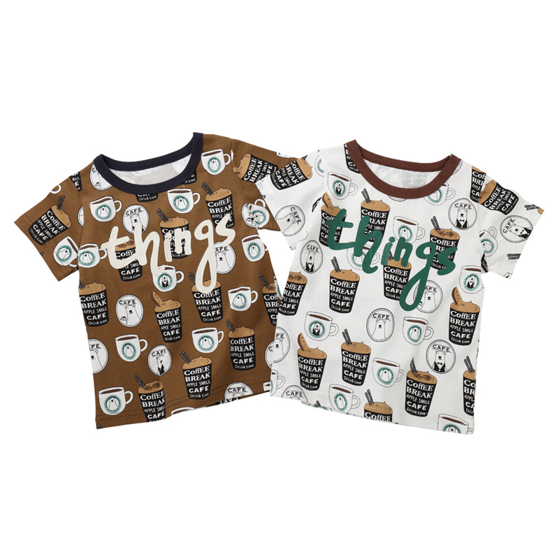 Fashion Toddler Baby Girl Boy T Shirt Enfant Cartoon Drink Coffee Printed Short Sleeve Europe America Calsual Tee Tops