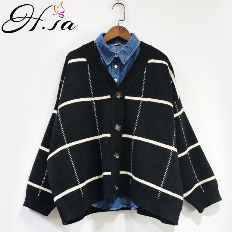 HSA 2018 Women Sweater and Cardigans Vneck Casual Sweater Jumpers Single Breasted Batwing Sleeve Korean kimono jacket sueter