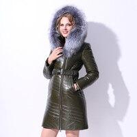 Women PU Leather Down Coats Jacket Real Fox Fur Hoody Winter Long Overcoats Lady Outerwear Plus Size 5XL 6XL 7XL VF4043