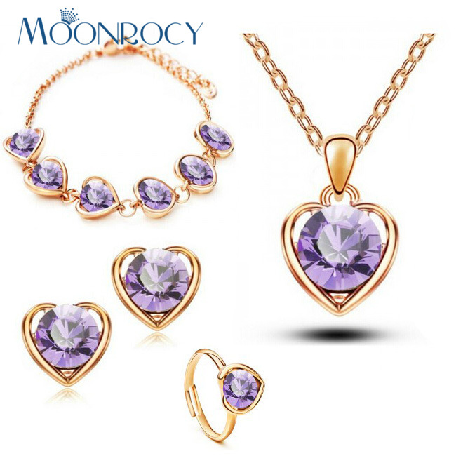 MOONROCY Free Shipping Rose Gold Color Crystal <font><b>Necklace</b></font> <font><b>Earring</b></font> <font><b>Ring</b></font> <font><b>Bracelet</b></font> Jewelry Set heart-shaped purple green for women image