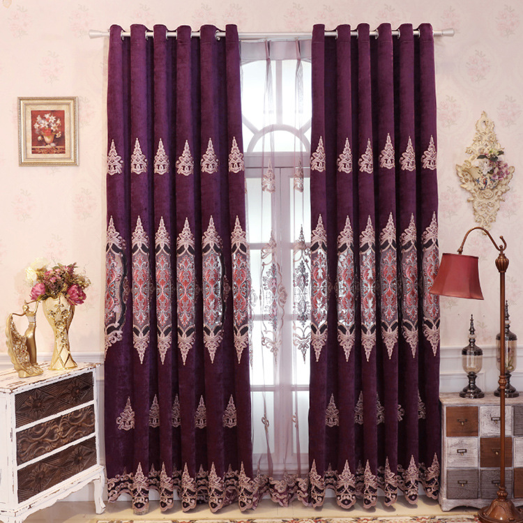 Embroidery Curtains For Living Dining Room Bedroom Shading Finished Curtain Cloth Chenille Purple European Style
