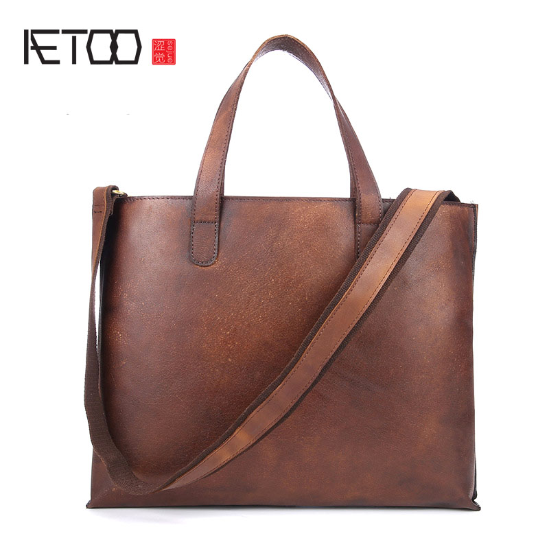 AETOO Men S Large Portable Briefcase Imported Tanned Real Leather Handbag Single Shoulder Diagonal Package Men