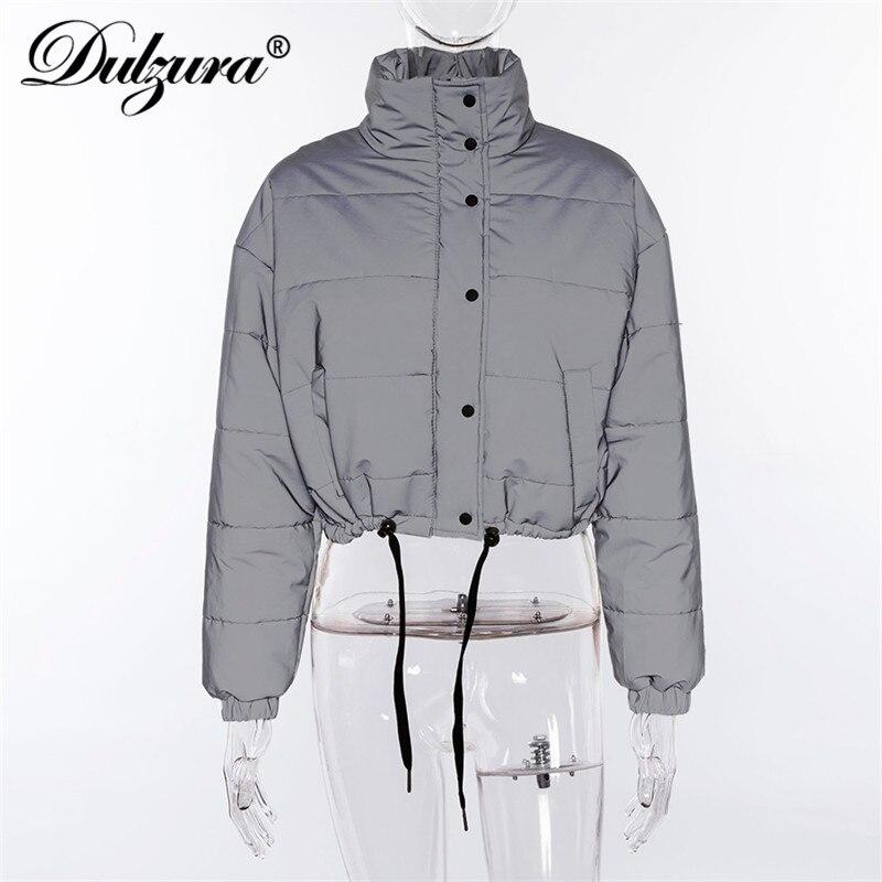 Image 5 - Женская куртка пуховик Dulzura flash, короткий теплый однотонный  пуховик на молнии, Повседневная Верхняя одежда большого размераПарки