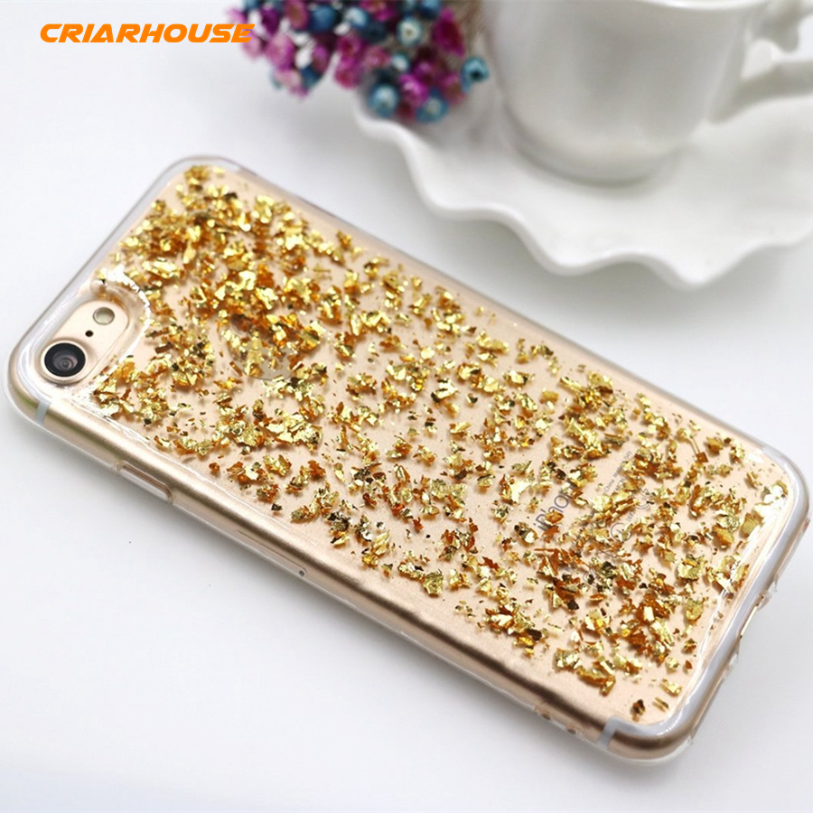 Bling Glitter Sparkle Gold Foil Embedded Transparent Soft Silicone Case Cover For Iphone SE 5 5S 6 6S 7 8 Plus 10 X XS XR Max