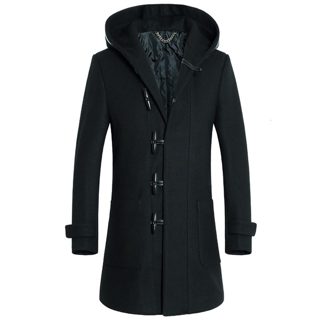 Shanghai Story long coat mens trench coat men wool hooded horn button woolen coat winter 50% wool + 50% polyster Top Quality