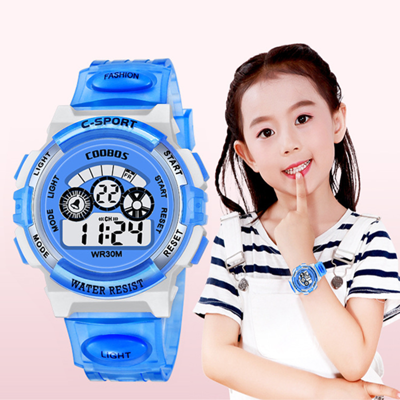 Digital Kids Watches Sports Children's Wrist Watch Multifunction Colorful Light Waterproof Student Electronic Watch Dropshipping