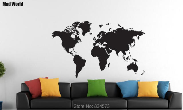 mad world hot world map silhouette wall art stickers wall decal home diy decoration removable