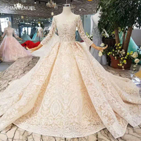 LS11003 champagne lace wedding dresses 2019 square neck see through long sleeves sexy v back wedding gown with shiny long train