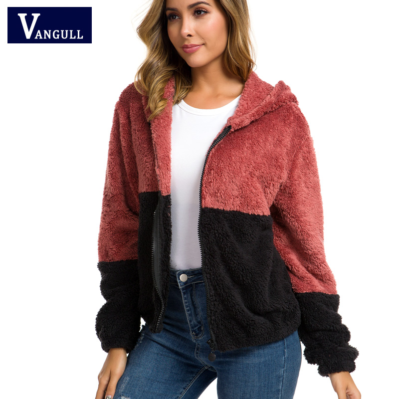 Vangull Colorblock Hooded Teddy   Jackets   Women   Basic     Jackets   2019 Casual Autumn Coats Clothing Thick Zipper Long Sleeve Outerwear